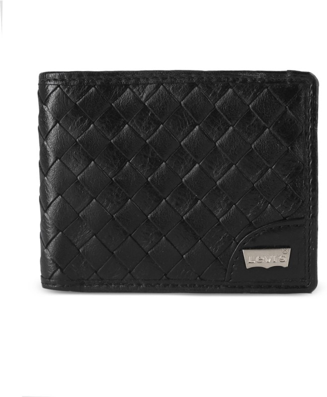 Levis Men Black Genuine Leather Wallet(8 Card Slots)