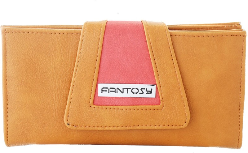 Fantosy Women Tan Artificial Leather Wrist Wallet(4 Card Slots)