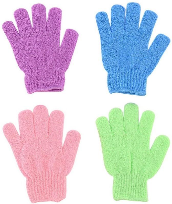Sukot 4 Pairs Exfoliating Scrubber Gloves Bath Gloves Body Scrub Shower Gloves Body Skin Spa Massage