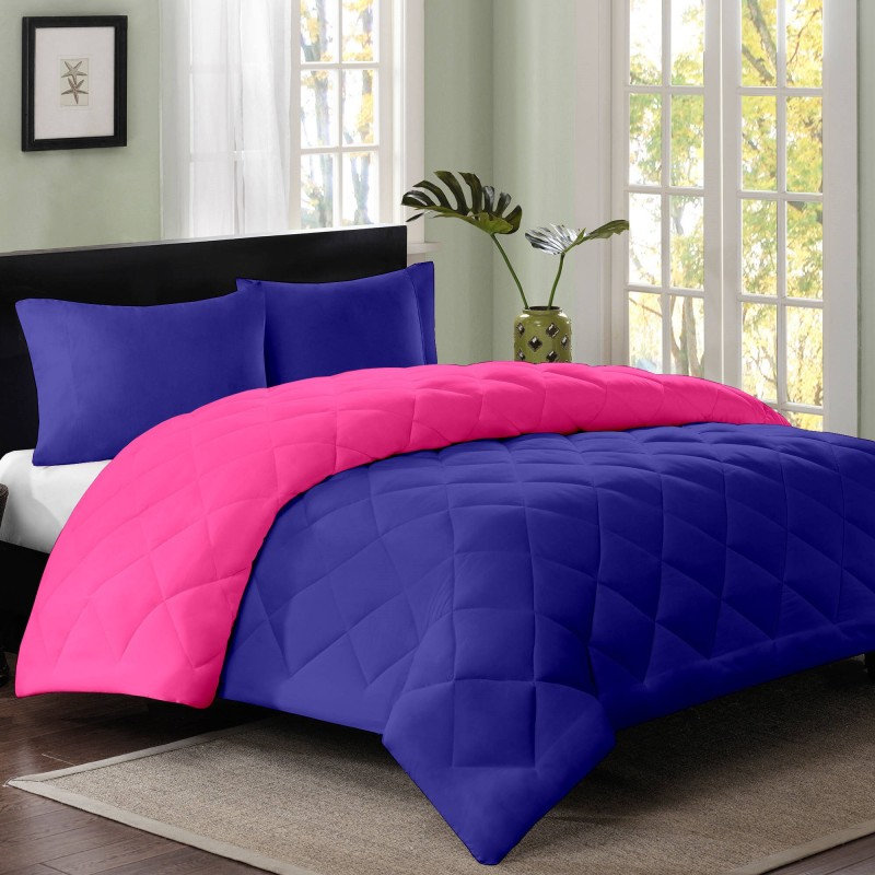 Cloth Fusion Plain Double Quilts & Comforters Pink, Navy Blue(1...
