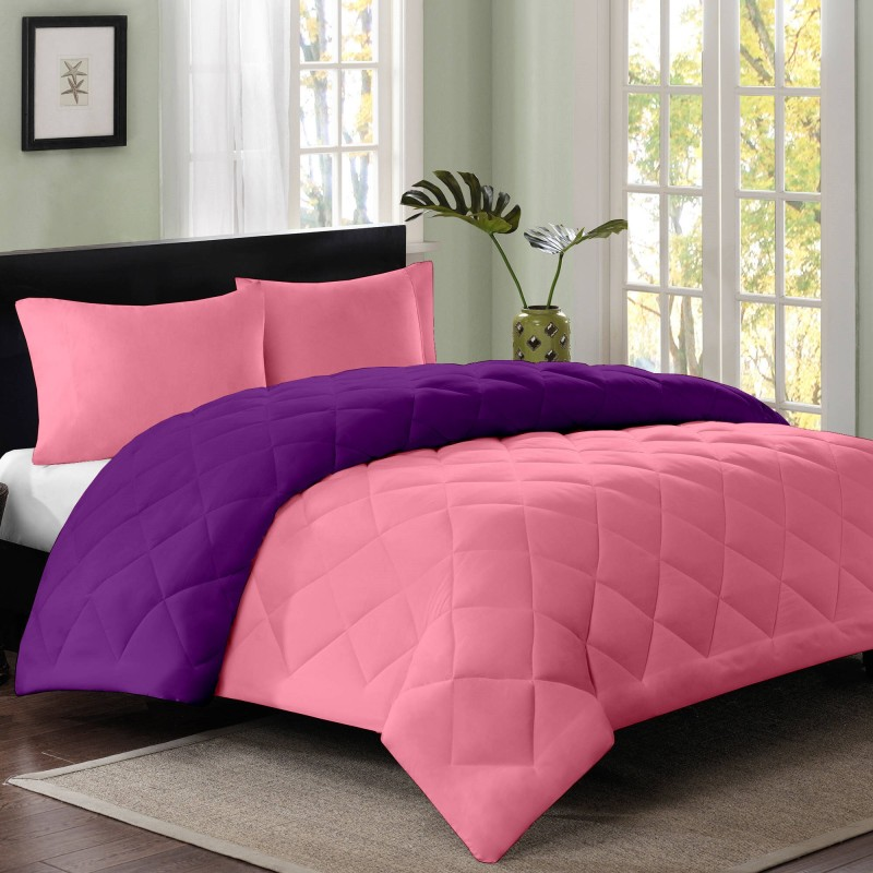 Cloth Fusion Plain Single Quilts & Comforters Magenta, Purple(1 Single...