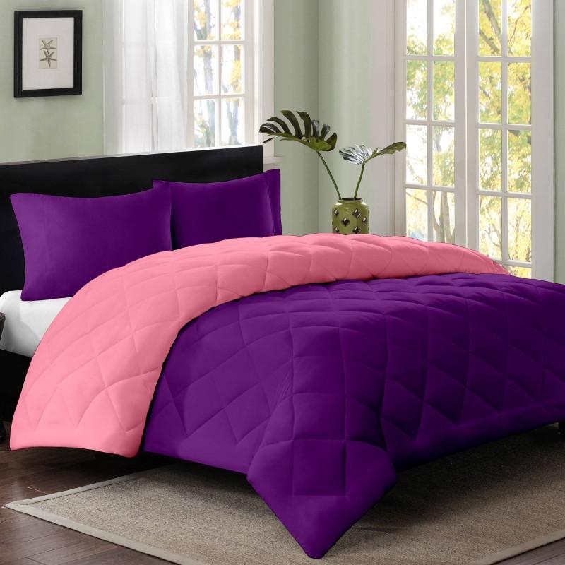 Cloth Fusion Plain Double Quilts & Comforters Magenta, Purple(1 Double...