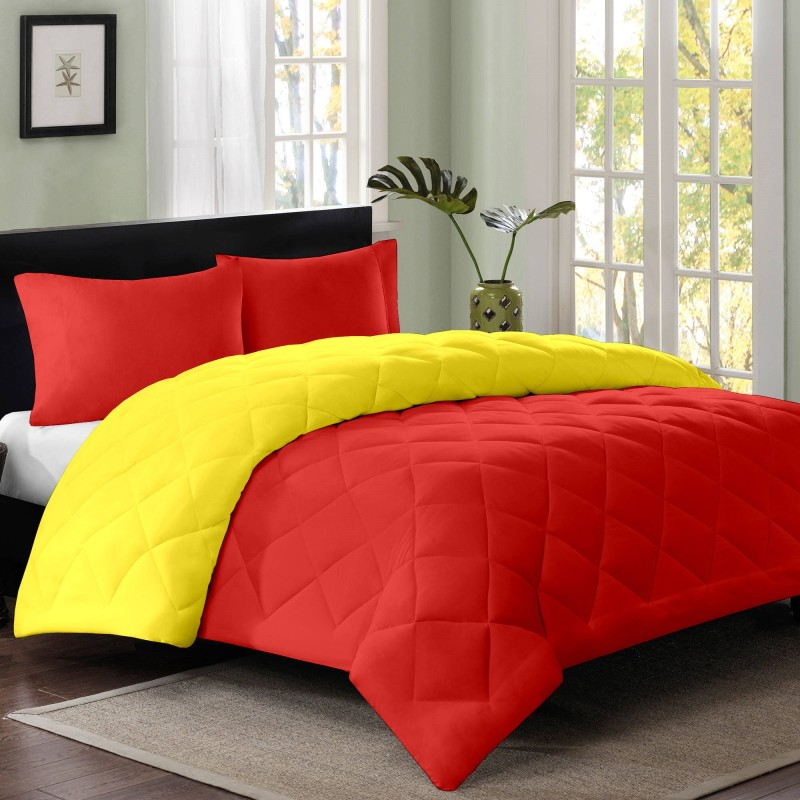 Cloth Fusion Plain Double Quilts & Comforters Yellow, Red(1 Double...