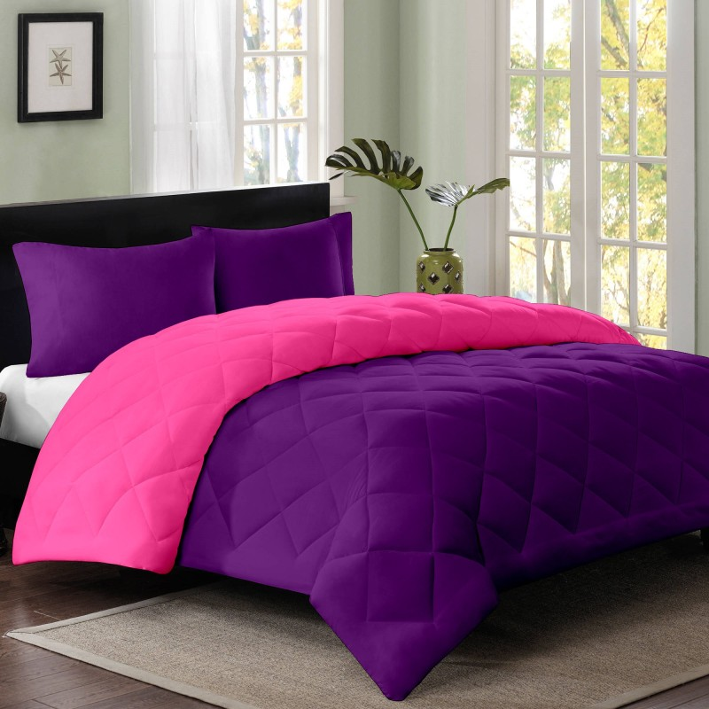 Cloth Fusion Plain Double Quilts & Comforters Pink, Purple(1 Double Size Comforter)