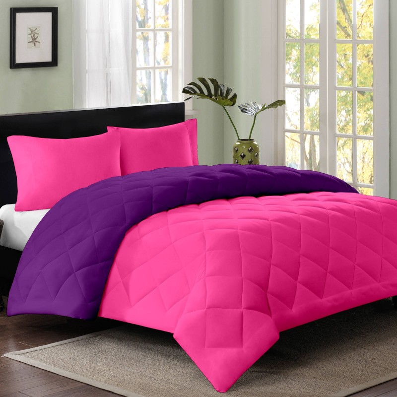 Cloth Fusion Plain Single Quilts & Comforters Pink, Purple(1 Single...