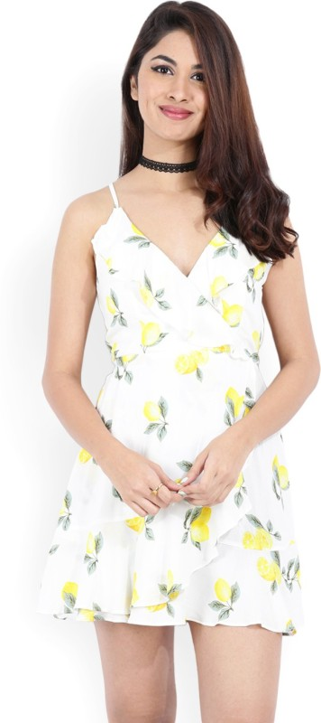 Forever 21 Women A-line Yellow, White Dress