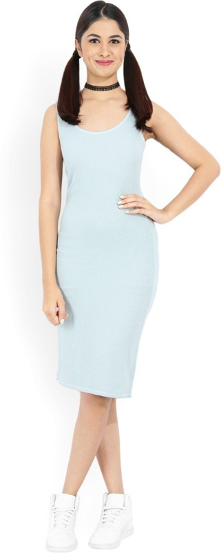 Forever 21 Women Sheath Light Blue Dress