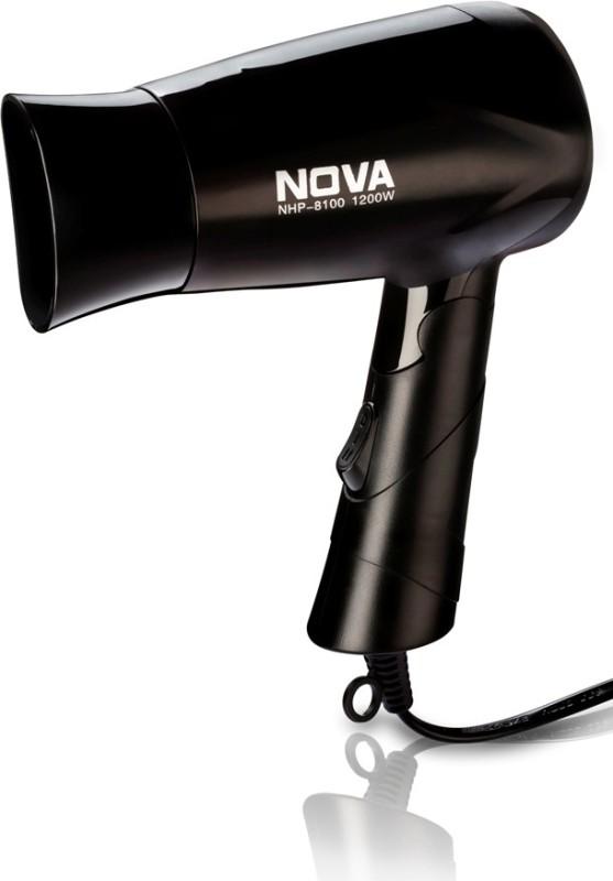 Nova Silky Shine 1200 W Hot And Cold Foldable NHP 8100 Hair Dryer(1200 W, Black)