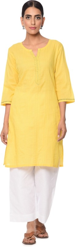 Mother Home Casual Solid Women Kurti(Yellow)