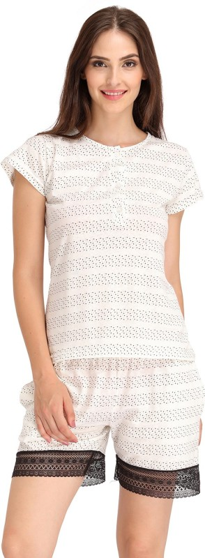 Clovia Women's Printed White Top & Shorts Set