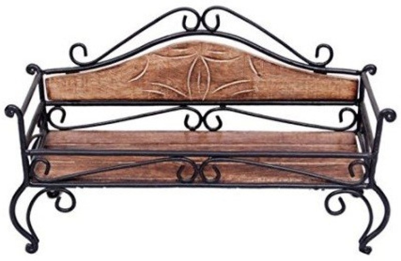 Desi Karigar Home Decor Wooden, Iron Wall Shelf(Number of Shelves - 1, Brown, Black) Home Decor