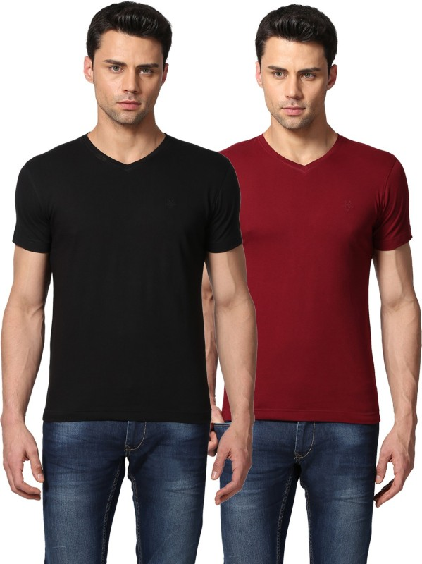 GOAT Solid Men's V-neck Black, Red T-Shirt(Pack of 2)