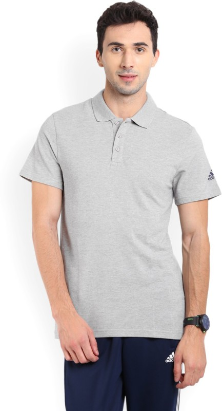 Adidas Solid Men's Polo Neck Grey T-Shirt