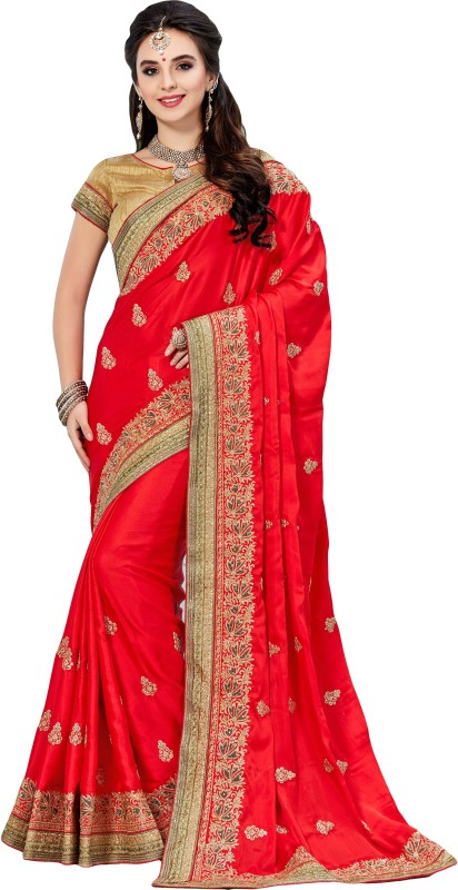 M.S.Retail Embroidered Bollywood Chiffon Saree(Red)