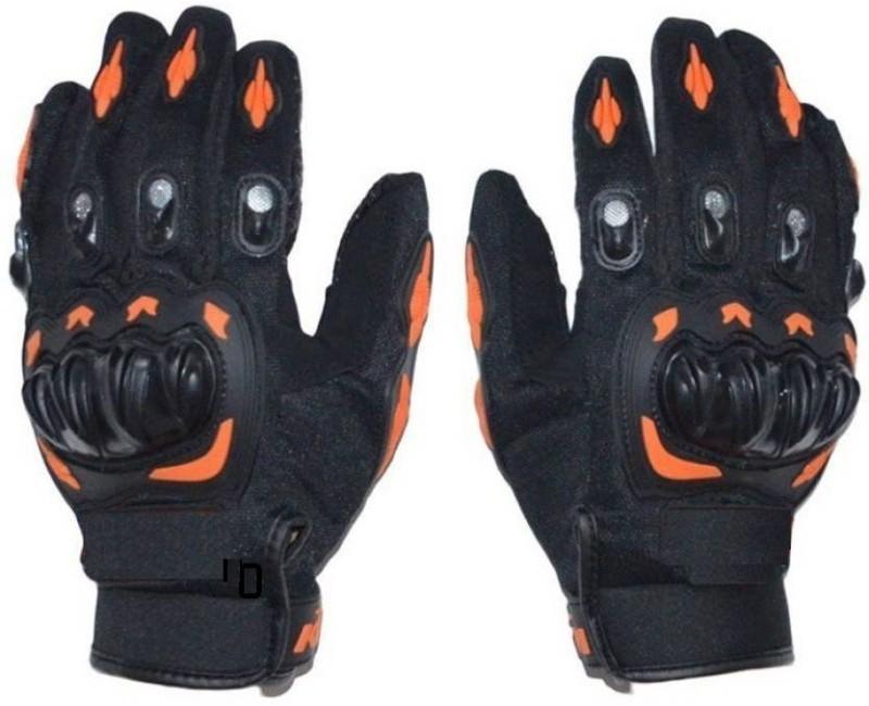 Saifpro Bike Riding Gloves (Free Size, Black, Orange)