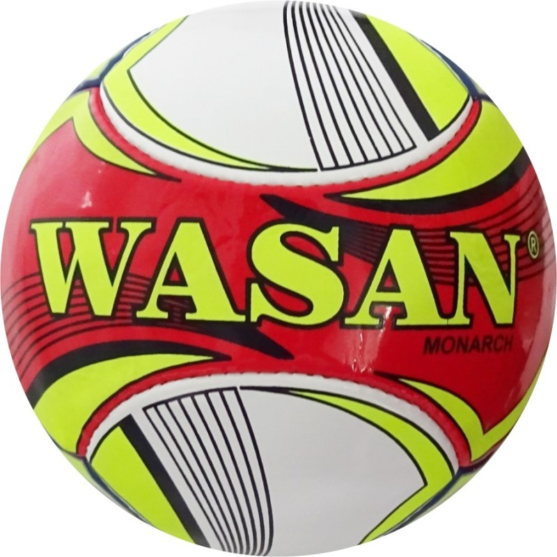 WASAN Monarch Football (Red/Yellow) Football - Size: 5(Pack of 1, Red)