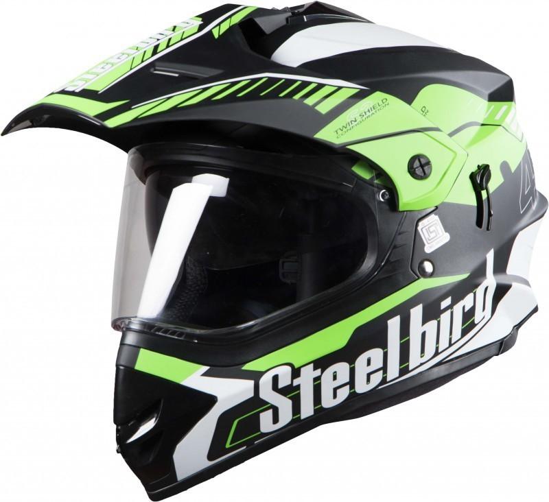 Steelbird Sb-42 Airborne Motorbike Helmet(Black Green)