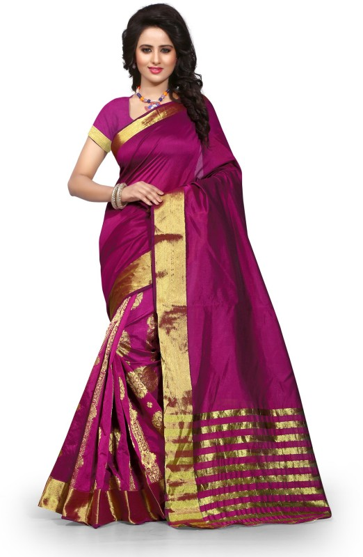 The Fashion Outlets Self Design, Plain Fashion Cotton, Silk Saree(Magenta)
