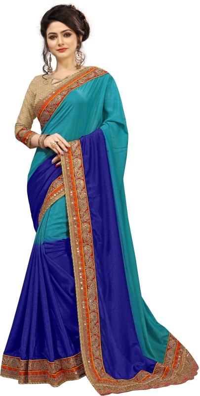 The Fashion Outlets Embroidered Fashion Crepe, Silk Saree(Blue)