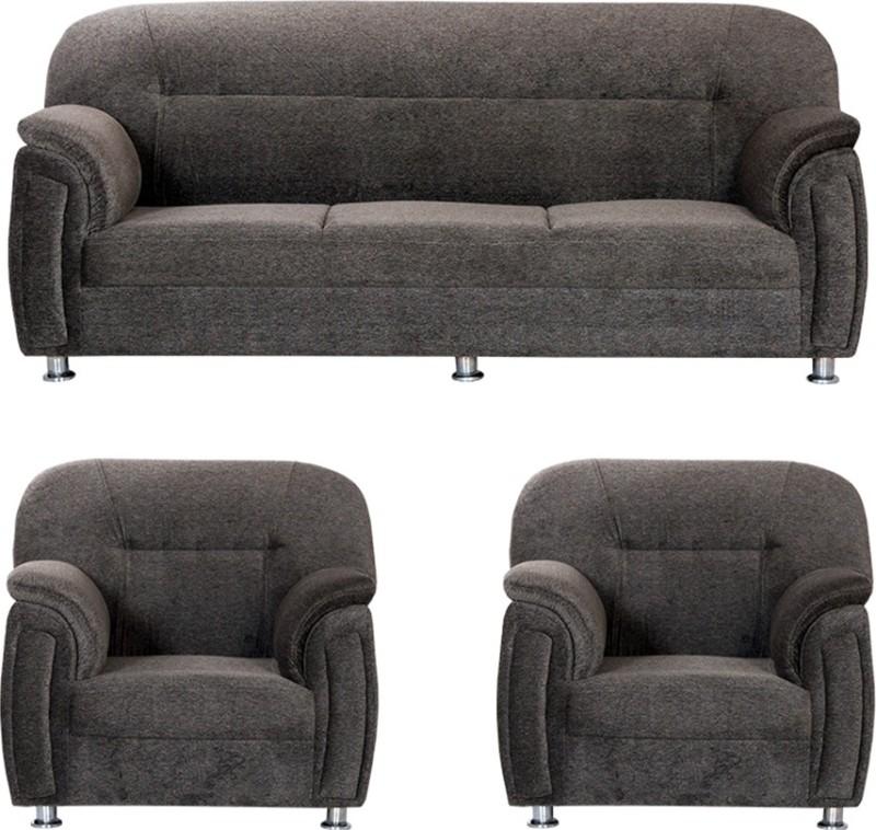 Bharat Lifestyle New Sagittarius Fabric 3 + 1 + 1 Dark Brown Sofa Set(Configuration - 3+1+1)
