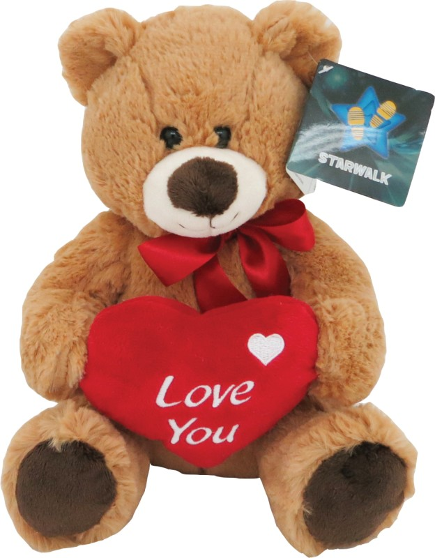Starwalk Bear Plush Brown colour with Red Bow & Love You Heart - 25 cm(Multicolor)