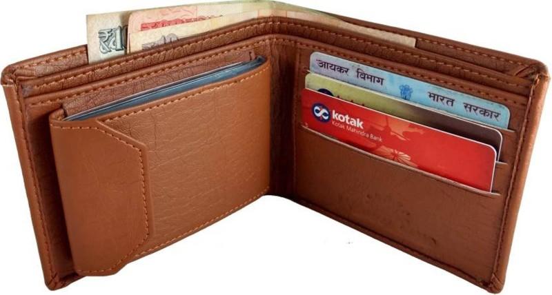 Styler King Men Tan Artificial Leather Wallet(13 Card Slots)