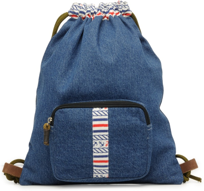The House of Tara Denim Fabric Slim 10 L Backpack(Blue)