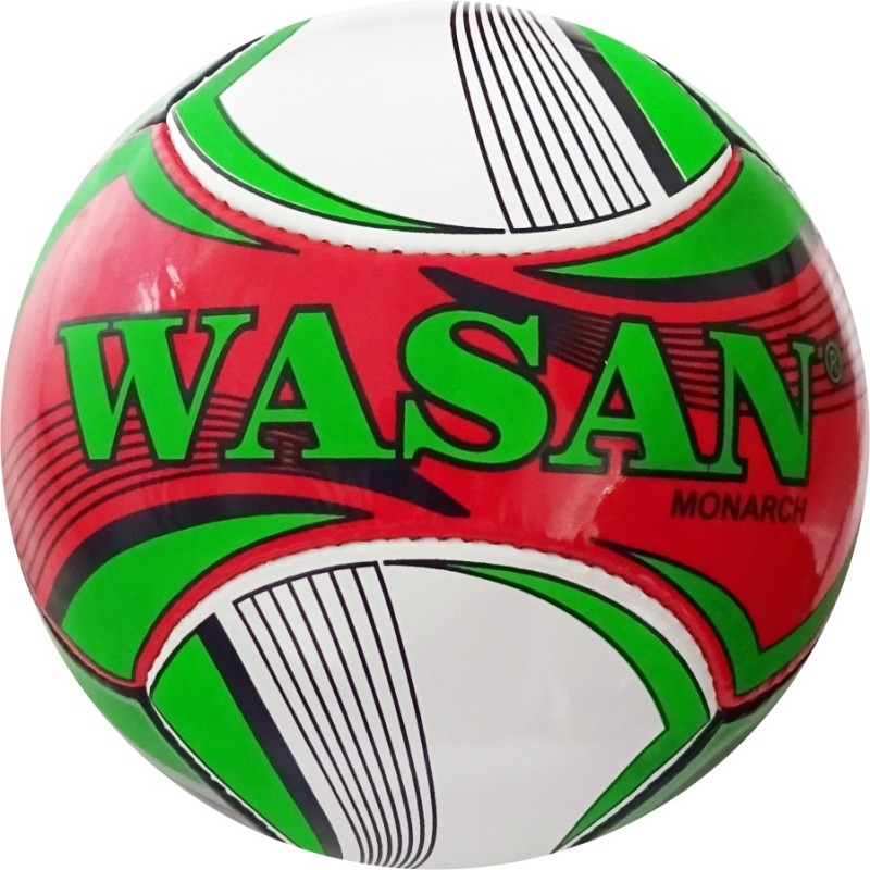 WASAN Monarch Football (Red/Green) Football - Size: 5(Pack of 1, Red)