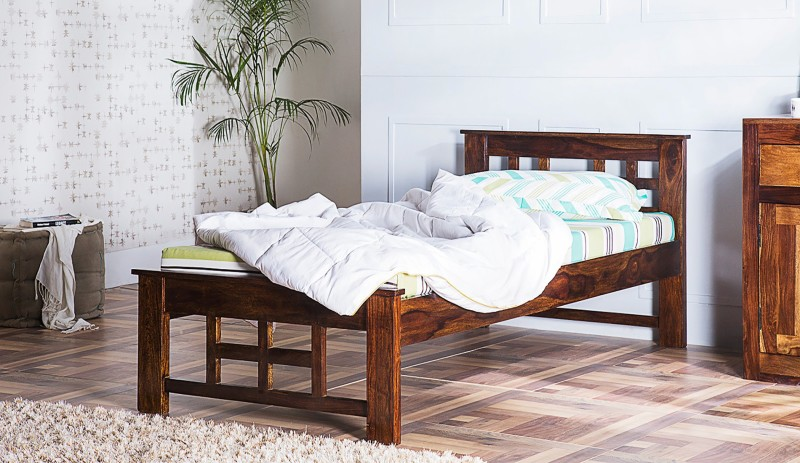 Induscraft Solid Wood Single Bed(Finish Color - Brown)