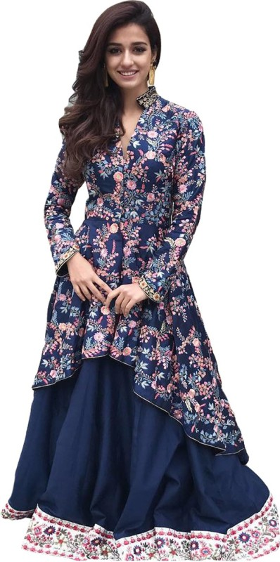 Clickedia Silk Solid Semi-stitched Lehenga Choli Material