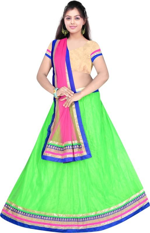 Anu Clothing Self Design Lehenga Choli(Green)
