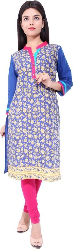 Gujari Casual Printed Women's Kurti(Blue)