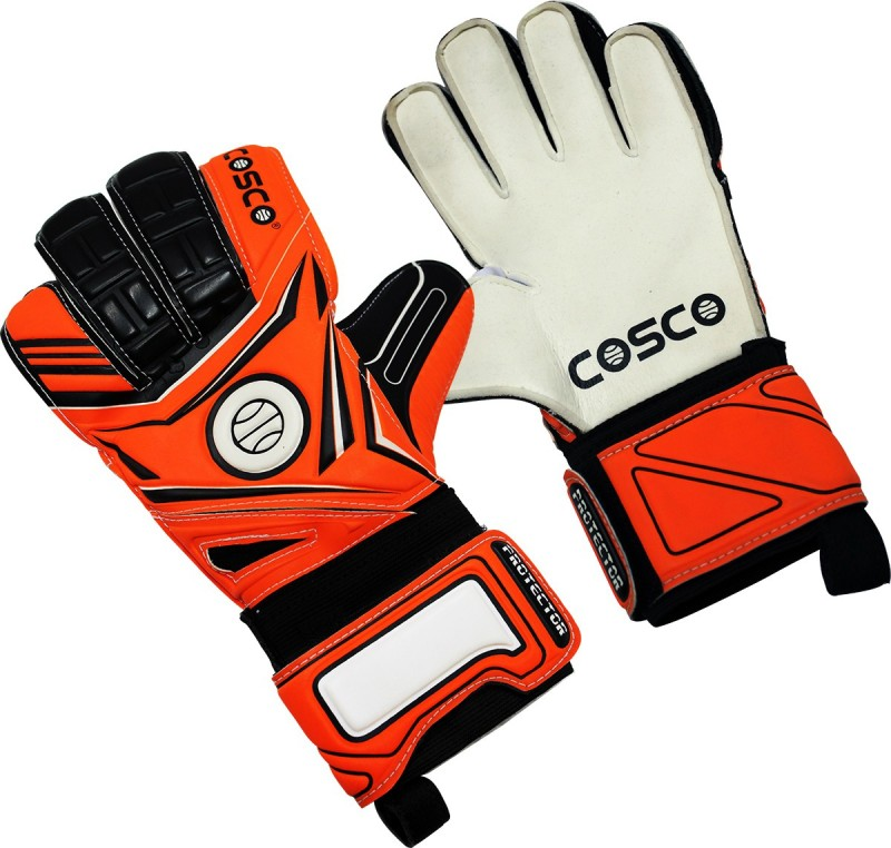 Cosco Protector Goalkeeping Gloves (L, White, Orange, Black)