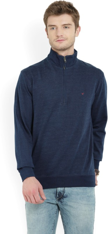 Wills Lifestyle Full Sleeve Solid Men Sweatshirt