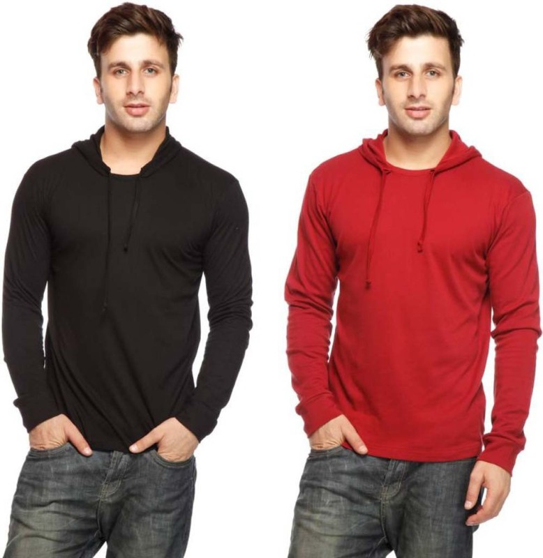 Geum Solid Men's Hooded Red, Black T-Shirt(Pack of 2)