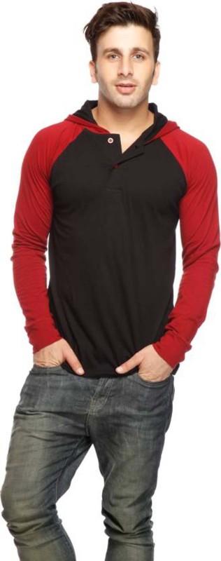 Geum Solid Men's Hooded Black T-Shirt