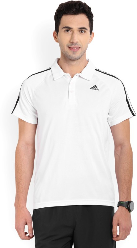 Adidas Self Design Men's Polo Neck White T-Shirt