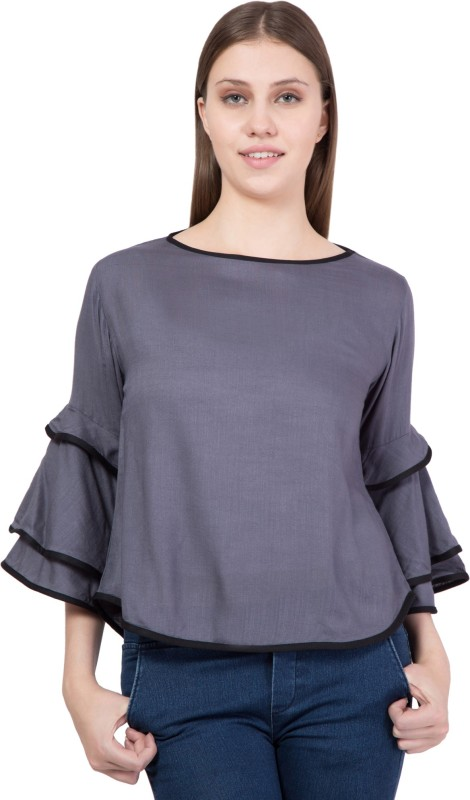 Khhalisi Party Bell Sleeve Solid Women's Grey Top