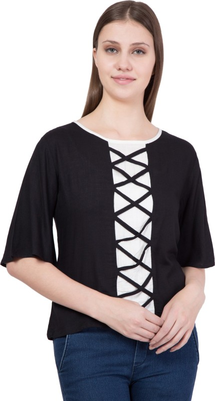 Khhalisi Party Bell Sleeve Solid Women's Black Top