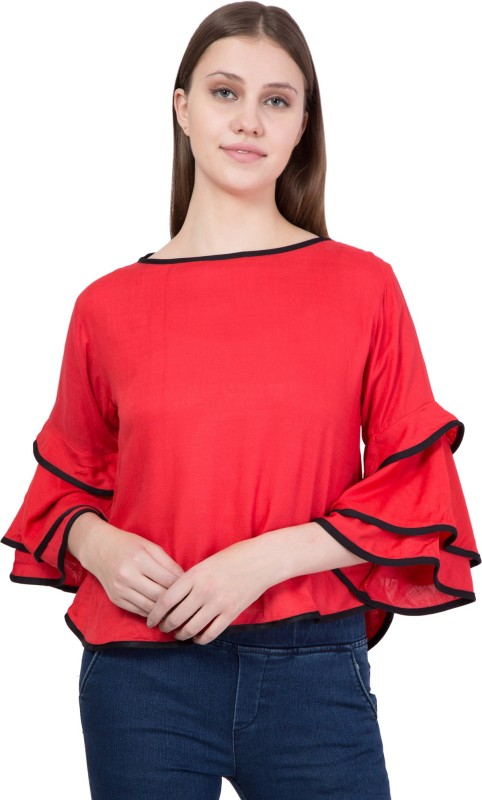 Khhalisi Party Bell Sleeve Solid Women's Red Top