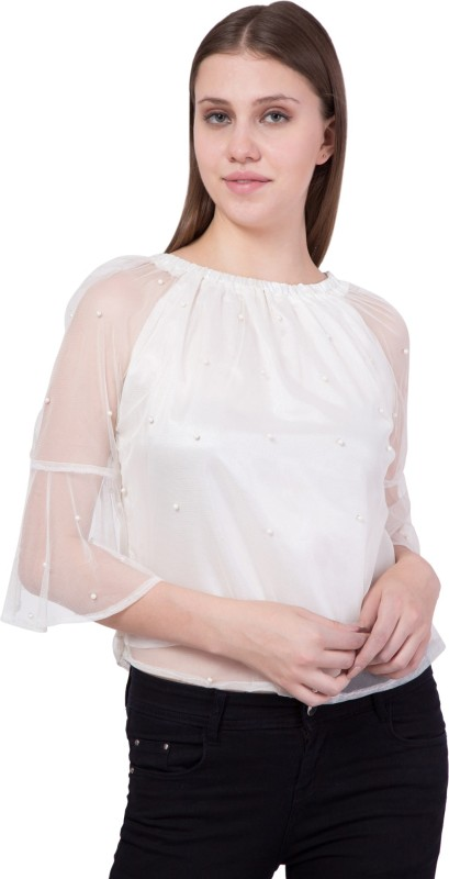 Khhalisi Party Bell Sleeve Embellished Women's White Top