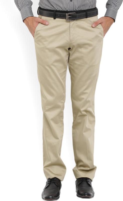 John Players Slim Fit Men Beige Trousers