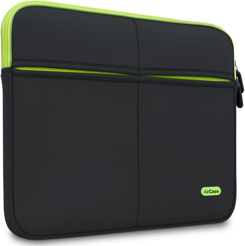 AirCase Premium, Designer, Suave, 6-MultiUtility Pockets Laptop Sleeve/Cover(Black, 1)