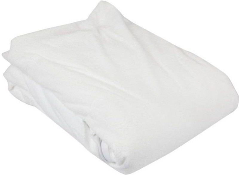 Jaipuri Art Elastic Strap Queen Size Mattress Protector(White)