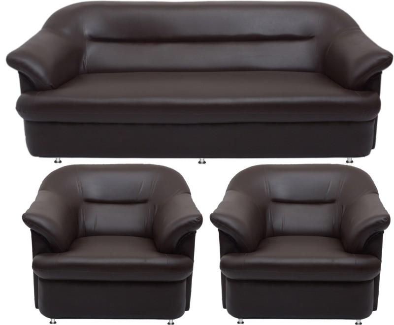 Bharat Lifestyle Sagittarius Leatherette 3 + 1 + 1 Brown Sofa Set(Configuration - 3+1+1)