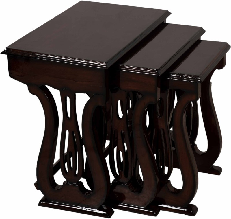 DZYN Furnitures Solid Wood Nesting Table(Finish Color - Brown, Set of - 3)