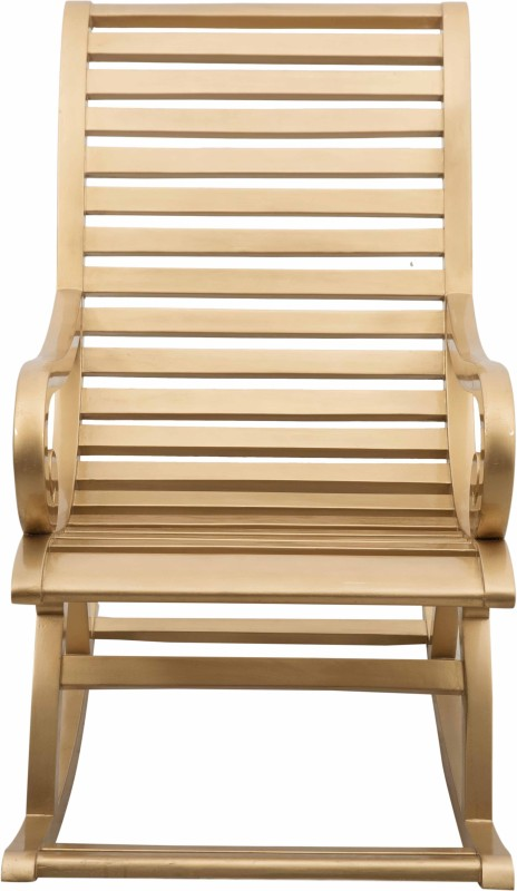 DZYN Furnitures Solid Wood 1 Seater Rocking Chairs(Finish Color - Gold)