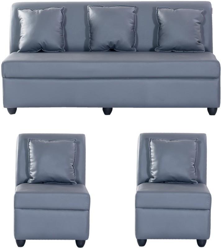 Bharat Lifestyle Delta Leatherette 3 + 1 + 1 Grey Sofa Set(Configuration - 3+1+1)