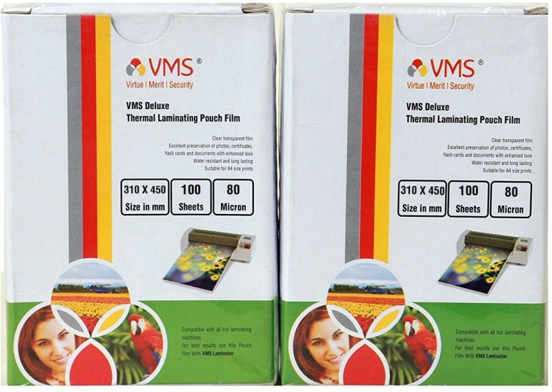 VMS Compatible with all hot laminating machines.::Clear Transparent Film:: A4 Laminating Sheet(80 mil Pack of 2)