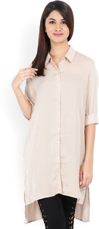 Forever 21 Women Solid Casual Beige Shirt
